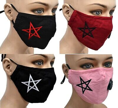 Embroidered Goth Face Mask Washable Breathable Nose Wire Pentagram Satanic Pagan • 9.41£