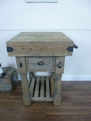 Farmhouse Butchers Block Bench In A Weathered Oak Finish • 349£