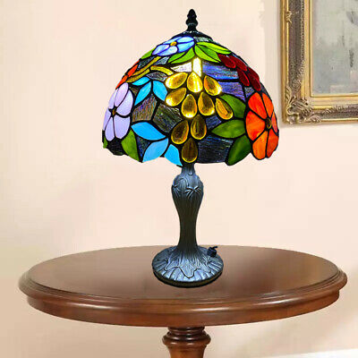 Tiffany Style Table Lamp Handcrafted Art Bedside Light Desk Lamps Stained Glass • 48£