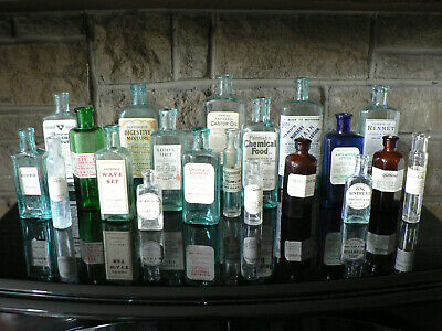 20 Vintage Glass Apothecary  Bottles With Genuine Antique Chemist Labels  (a5) • 35£