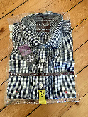 M&S Sartorial Slim Fit Shirt 16.5  Navy, Long Sleeve, Double Cuff • 30£