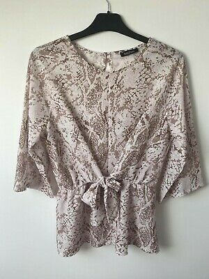 Boohoo Women's Snake Print Tie Front Peplum Top / Blouse Size 12 Used Very Good • 5£