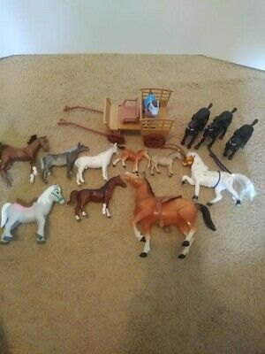Lot Of 14 Plastic Vintage Toy Horses Mane Carriage Saddle Play My Little Pony • 6.90£