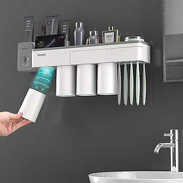 Mutifunctional Magnetic Toothbrush Holder With Toothpaste Squeezer Cups Bathroom • 24.22£