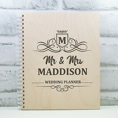Personalised Wedding Planner Wooden Wedding Book Gift Engagement Gift • 11.99£