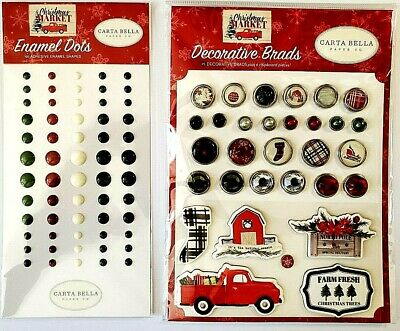 $5.29 • Buy Christmas Market Decorative Brads & Enamel Dots Set Of 2 Carta Bella