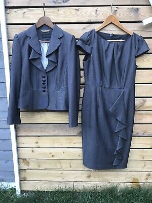 Marks And Spencers Grey Dress And Suit Jacket Set.frill Front. Size 10. Vgc. • 26£
