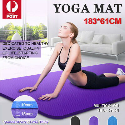 AU26.89 • Buy 10/15MM Exercise Mat NBR Yoga Mat Non-Slip Gym Fitness Pilates Workouts Pad Mats