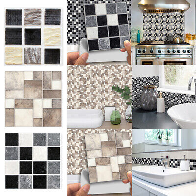 18X Mosaic Tile Stickers Stick On Bathroom Kitchen Home Wall Decal Self-adhesive • 4.88£