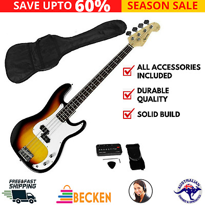 AU155.19 • Buy Full Size Bass Guitar Electric 4 String Music Instrument Wooden With Carry Bag