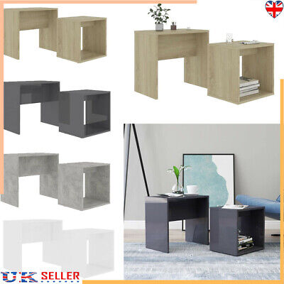 High Gloss Nest Of 2Coffee Table Side End Tables Living Room Side Desk Furniture • 32.29£