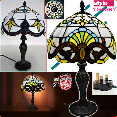NEW Tiffany Style Handcrafted 10  Table Bedside/Desk Lamps Stained Glass UK Plug • 48.49£