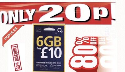 £1 • Buy 6 GB DATA O2 Pay As You Go Sim Card  PAYG Unlimited Call TABLET IPAD IPHONE
