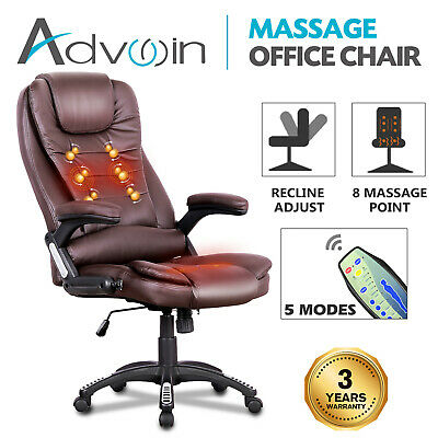 AU137.90 • Buy 8 Point Massage Heated Chair Executive Office Computer Seat Pu Leather Black