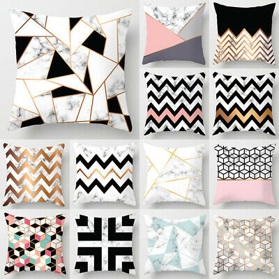 45cm X 45cm Geometric Cushion Covers Pink Marble Grey Sofa Pillow Case Cover UK • 3.79£