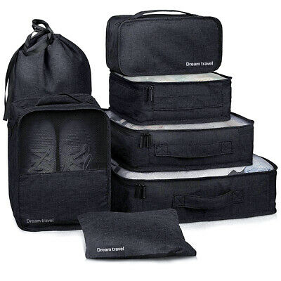 AU9.99 • Buy 7pcs Packing Cube Pouch Suitcase Clothes Storage Bags Travel Luggage Organiser