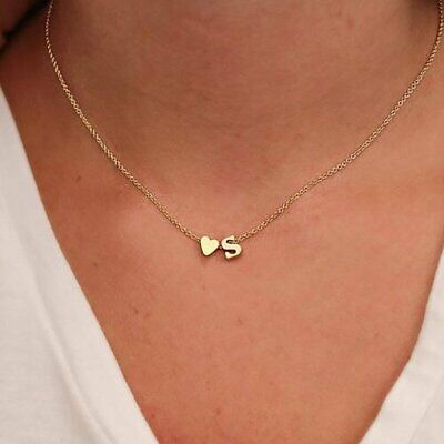 £2.19 • Buy Fashion Tiny Heart Dainty Initial Letters Chain Pendant Necklace Choker Women