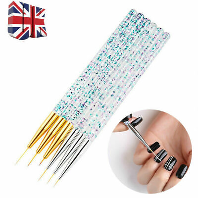 3pcs Nail Art Brush Line Drawing Pen Painting Liner Thin Brushes 7/9/11/15mm Q • 4.28£
