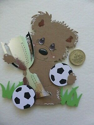 4 Large Football Bear Birthday Card Toppers Son, Dad Grandad Handmade Sweet 3D • 4£