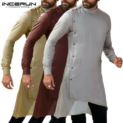 INCERUN Men's Saudi Abaya Robe Islamic Kurta Shirt Arab Kaftan Dress Tops Tunic  • 13.99£