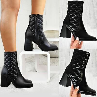 Womens Flared Heel Quilted Ankle Boots Block Heel Square Toe Padded Winter Shoes • 18.99£