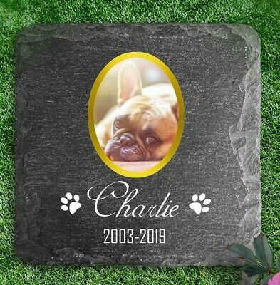 £8.45 • Buy Memorial Plaque For Pet Cat Dog Slate Stone Heart Paw Grave Marker Personalised