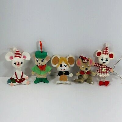 $ CDN26.39 • Buy Vintage Flocked Felt Christmas Ornaments Mice Mouse Lot Of 5 Tree Decoration