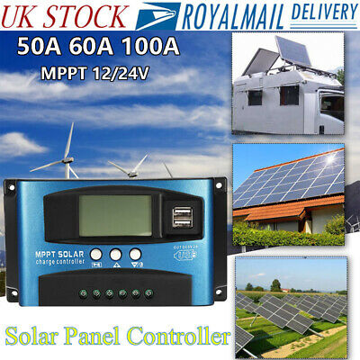 PWM10/20/30 MPPT50/100A Solar Panel Battery Regulator Charge Controller Dual USB • 23.98£