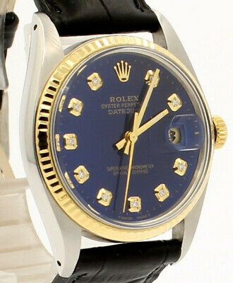 $ CDN6043.30 • Buy Mens Vintage ROLEX Oyster Perpetual Datejust 36mm Gold DIAMOND Dial Watch