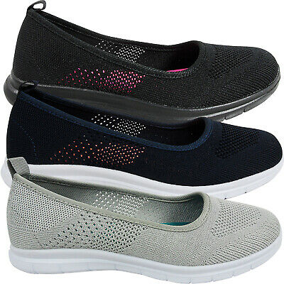 Womens Ladies Low Wedge MEMORY FOAM Slip On Pumps Trainers Shoes Walk Size Go  • 11.95£