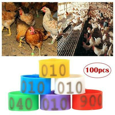 100X 001-100 Leg Bands Rings 16MM Numbered Plastic Poultry Goose Chicken Ducks • 6.69£