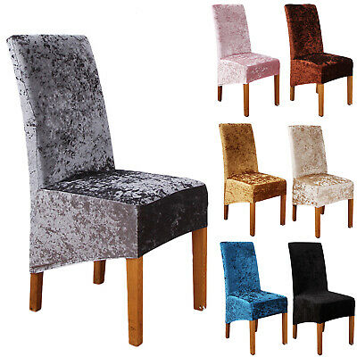 Crushed Velvet Dining Chair Covers Stretchable Protective Slipcover Home Decor • 6.99£