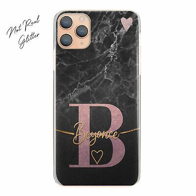 Personalised Initial Name Phone Case, Rose Pink Heart On Black Marble Hard Cover • 5.49£
