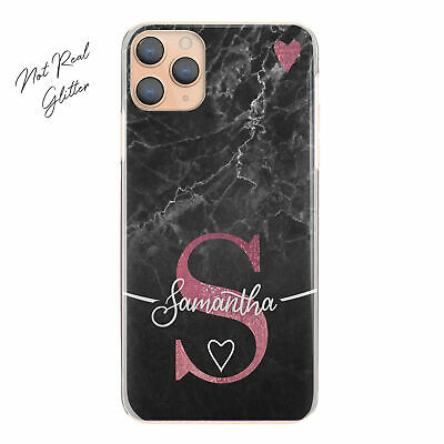 Personalised Initial Phone Case, Pink Heart On Black Marble Hard Cover With Name • 5.49£