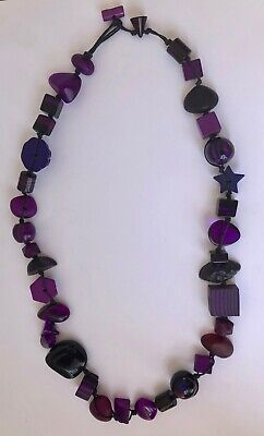 Jackie Brazil By Sobral Indiana Jones Long Purple Beaded Resin Necklace  • 32.99£