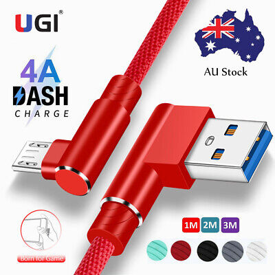 AU14.49 • Buy 2.4A 4A 90° Right Micro USB Type C Fast Charger Cable For Samsung Android IPhone