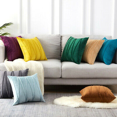 ~Velvet Striped Pillow Cover Cases Home Sofa Pillowcases Cushion Covers • 6.29£