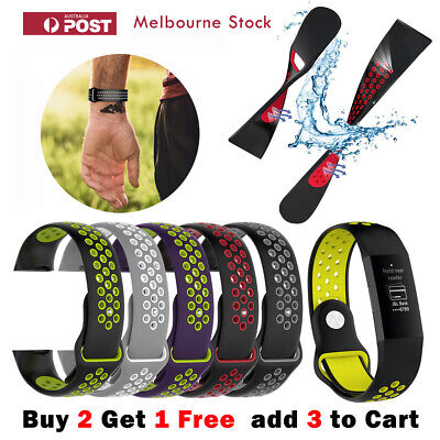 AU6.99 • Buy Fitbit Charge 4 Band Charge 3 /SE Sports Silicone Dual Color Replacement Straps