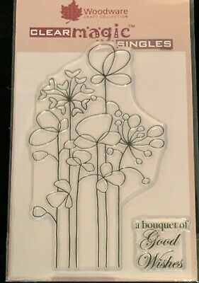 Woodware A6 Clear Cling Stamps - JGS490 Long Tall Flowers • 2.90£