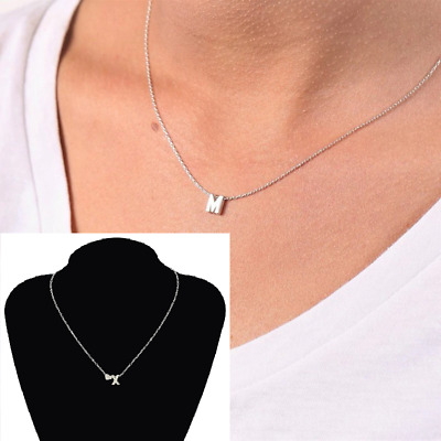 £3.39 • Buy Silver Colour Love Heart Initial 26 Letters Chain Necklace Women Free Bag UK