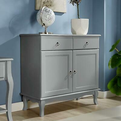 Grey Sideboard 2 Drawer 2 Door Storage Cabinet French Inspired Sculpted Legs • 99.99£