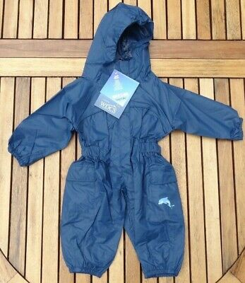 BNWT TARGET DRY Blue Waterproof All-in-One Puddle Splash Suit Age 6-12 Months • 12£