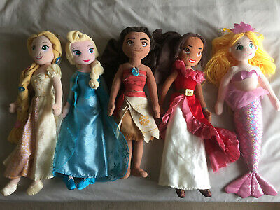 Set Of Disney Store Princesses Soft Plush Dolls 20  Moana, Elsa, Rapunzel, Elena • 16£