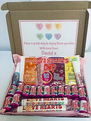 PERSONALISED LOVE HEARTS SWEETS GIFT BOX  - Birthday|Lockdown|Thank You|Wedding  • 4.99£