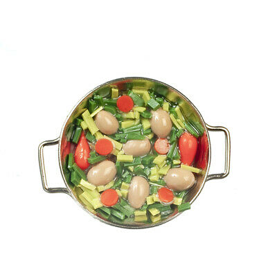 Vegetables In Pan, Dolls House Miniature, Kitchen Dining Stove Accessory • 1.89£