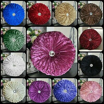 $ CDN20.44 • Buy Luxury Super Soft Crush Velvet Cushion Diamante Filled Scatter Round Cushions
