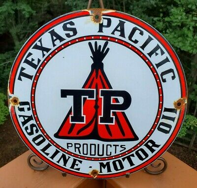 $ CDN174.20 • Buy Vintage Texas Pacific Motor Oil Porcelain Gas Service Station Pump Plate Ad Sign