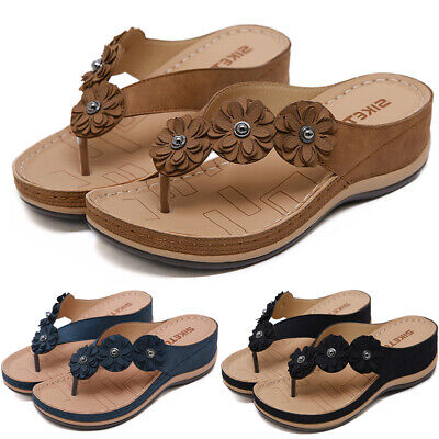 Women Ladies Flower Flip Flops Sandals Wedge Comfy Sliders Slippers Shoes Size • 17.09£