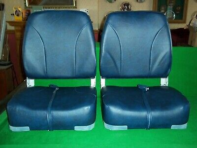 Boat Helm Seats X 2, High Back, Folding, Navy Blue, Never Used • 75£