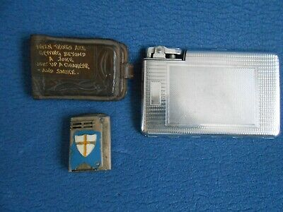 Old Metal Cigarette Case, Leather Cigarette Pouch And Petrol Lighter • 1.60£